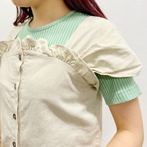 (LOOK) cotton linen bustier