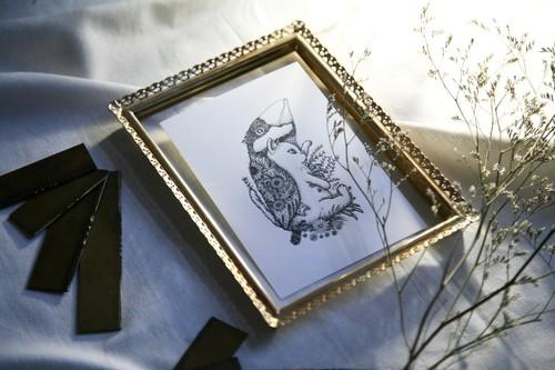 酒井ひさお「想い消えず」活版印刷のポストカード・グリーティングカード/猫・ネコ・文鳥