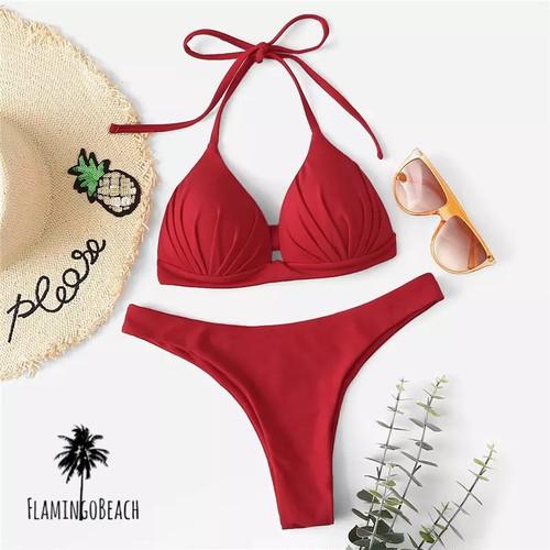 【FlamingoBeach】red simple Brazilian bikini ブラジリアンビキニ