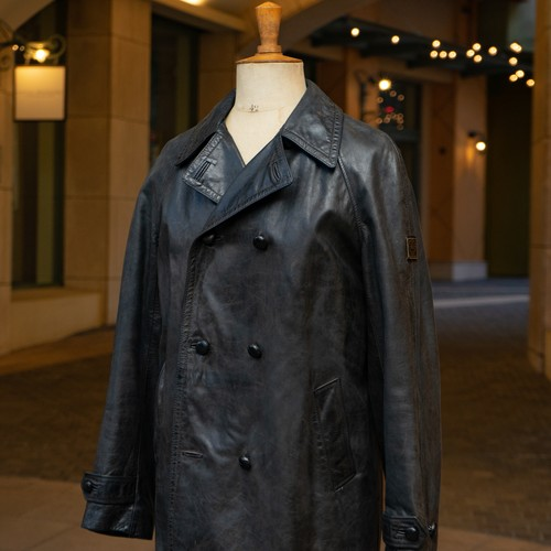 BELSTAFF DOUBLE BREASTED LEATHER COAT