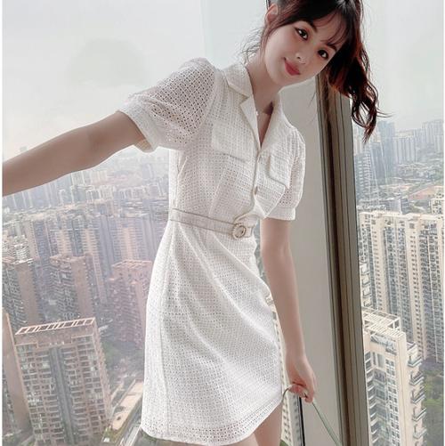 【dress】人気を独占中エレガントVネックボタンデザインデートワデート M-0477