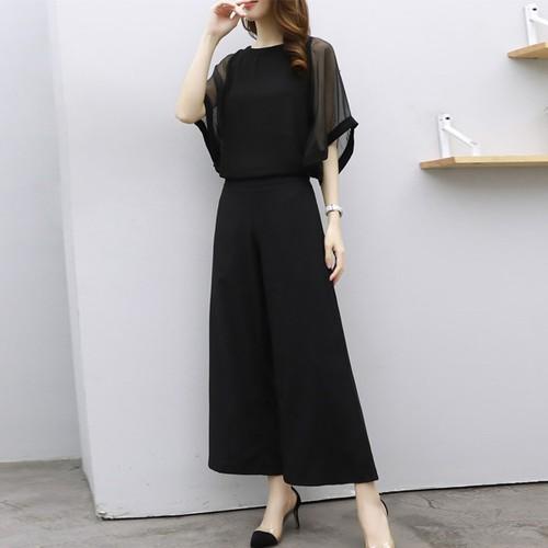 【セット】ファッション七分袖トップス+ガウチョパンツ2点セット18206425