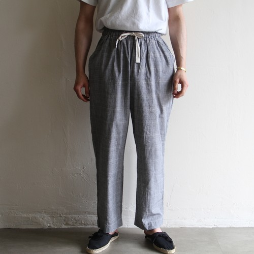 H.UNIT【 mens 】cotton linen check easy pants