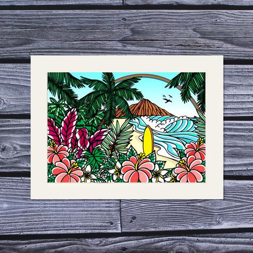 アートプリント A4(Waikiki Rainbow)