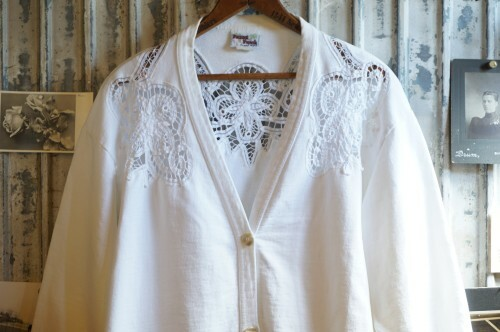80's cutout lace trimmed sweat Cardigan