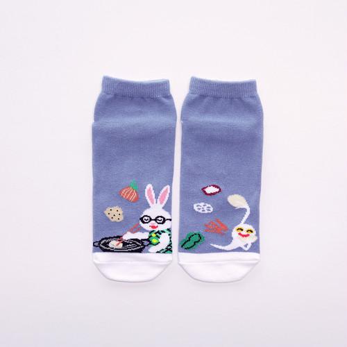 靴下 レディース/ブルー 【おばけのてんぷら】【絵本のくつした】