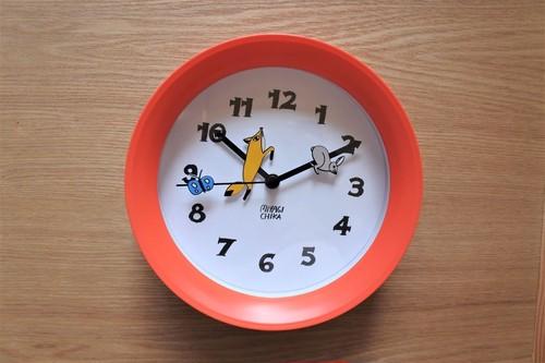 壁掛け時計・オレンジ(山鳩舎)