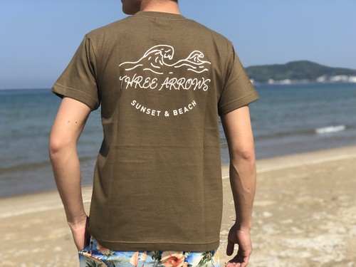 SUNSET & BEACH Tシャツ(khaki)