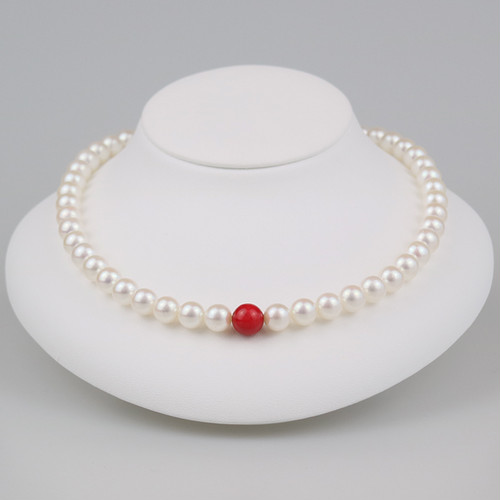 丹頂85(Tanchou)【Akoya8.0-8.5mm/Coral9.0mm】Necklace