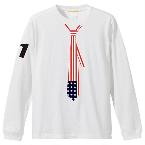 だまし絵 星条旗 ネクタイ Tシャツ 長袖 ホワイト