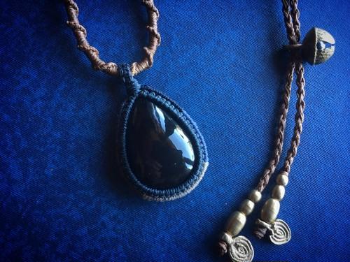 Rainbow Obsidian Macrame Necklace