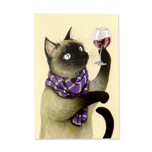 4.シャムリエ ポストカード / Sommelier Cat Postcard
