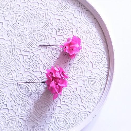 〖 ラズベリー・ソフトアジサイのヘッドドレスパーツ2本 〗お好きなプリザ花材をカスタムメイドでお作り致します