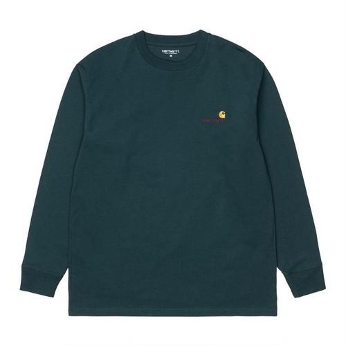 【Carhartt WIP】 L/S AMERICAN SCRIPT T-SHIRT - Deep Lagoon カーハート 長袖 Tシャツ