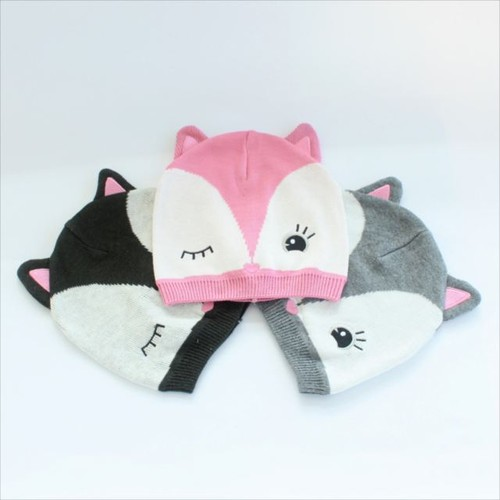 ニット帽子キツネ耳 赤ちゃん ウール帽子