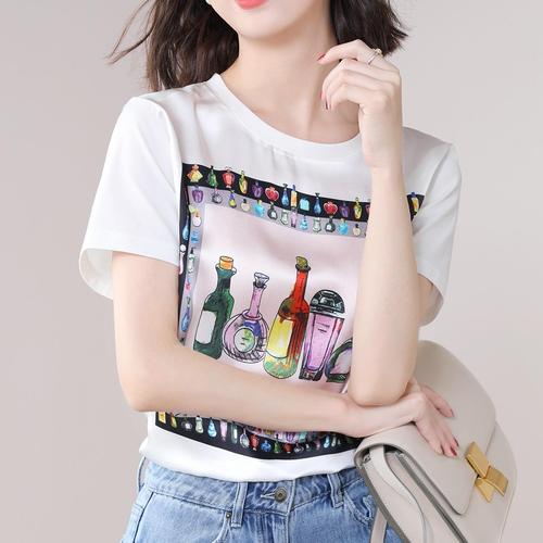 【tops】人気を独占中質感のいい シンプルプリントTシャツ2色着心地良い