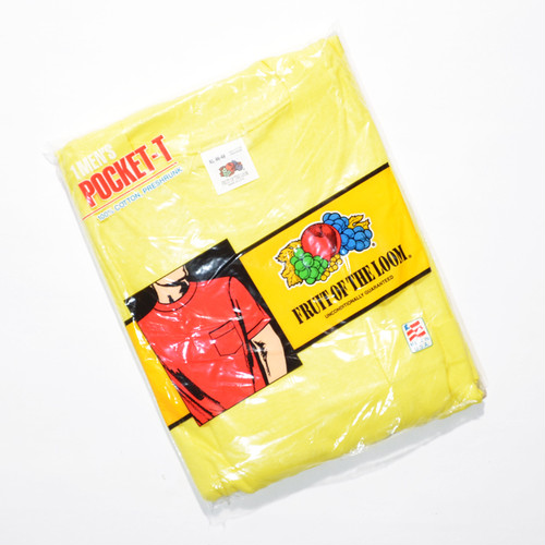 Deadstock★ 80's 90's FRUIT OF THE LOOM ポケTEE(Lemon YELLOW)XL