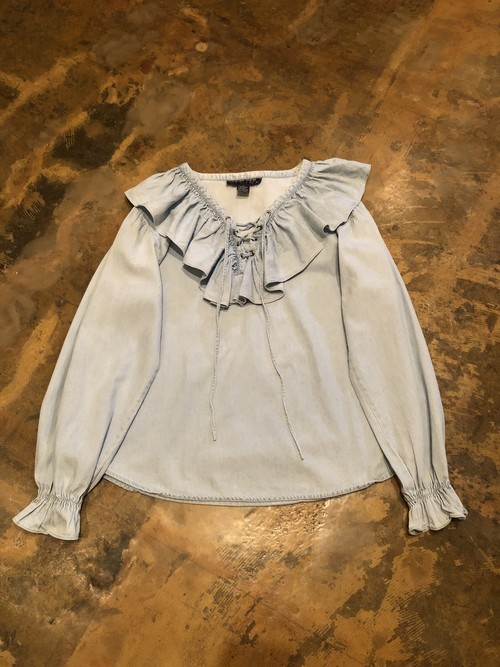 90s Frilled blouse /denim