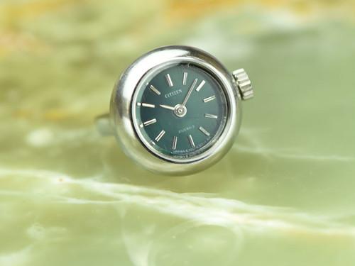 【ビンテージ時計】1973年8月製造 シチズン指輪時計 日本製 削りだしのような金属の質感がシンプル