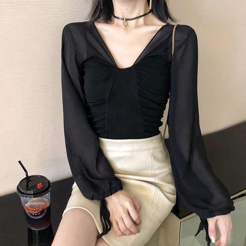 「トップス」ファッションセクシーVネックチュール切り替え2色エレガントブラウス