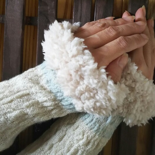 ファー付き カシミヤ手織りアームウォーマー  ミニタイプ F20