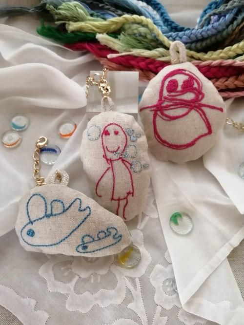 子供の絵 刺繍チャーム(線のみの絵)受注生産