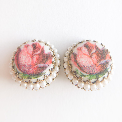 GERMANY  frost rose earring[e-1371] ヴィンテージイヤリング