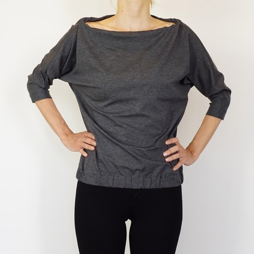 Wide Neck Jersey Tops / Grey