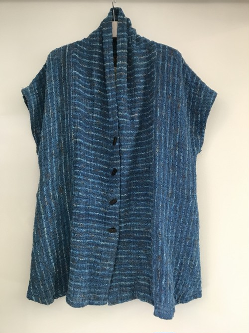 草木染 手織り上質コットンベスト ブルー