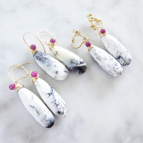 限定数14kgf*Opal + Ruby drop pierced earring / earring