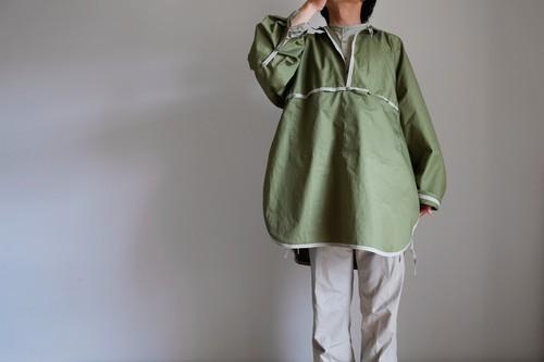 コットン オーバーサイズ シャツ 【 オリーブ グリーン 】 ・ リボンと遊ぶ 大きな大きな プルオーバーシャツ/ cotton pullover shirt 【olive green】