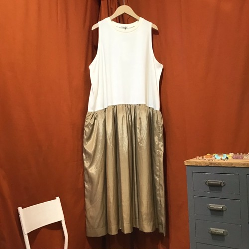 Lilou&Lily : CUPPRA×COTTON JERSEY SLEEVELESS ONE-PIECE DRESS   Color : Vanilla/Beige