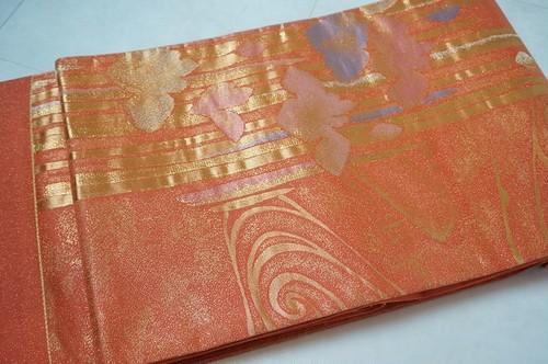 未使用 西陣織 袋帯 証紙有 菖蒲 金通し オレンジ 059