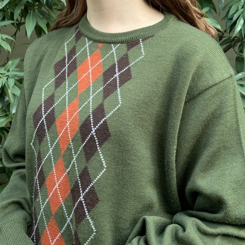 (LOOK) argyle knit tops