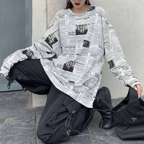ルーズプリント長袖Tシャツ RD4608
