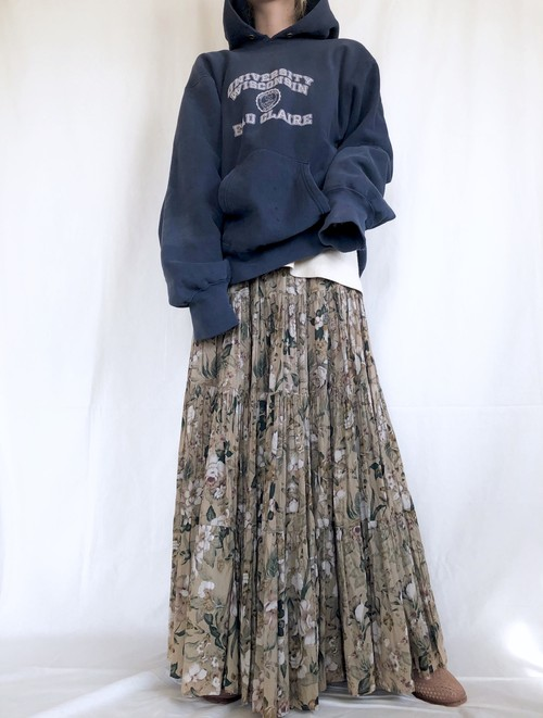 vintage India cotton floral maxi skirt
