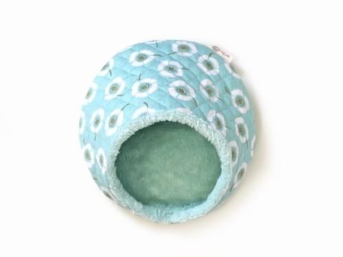 ハリちゃんのおやすみベッド(冬用) フラワー ミントブルー / Hedgehog bed for winter