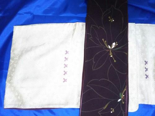 袷 小紋 白地に紫