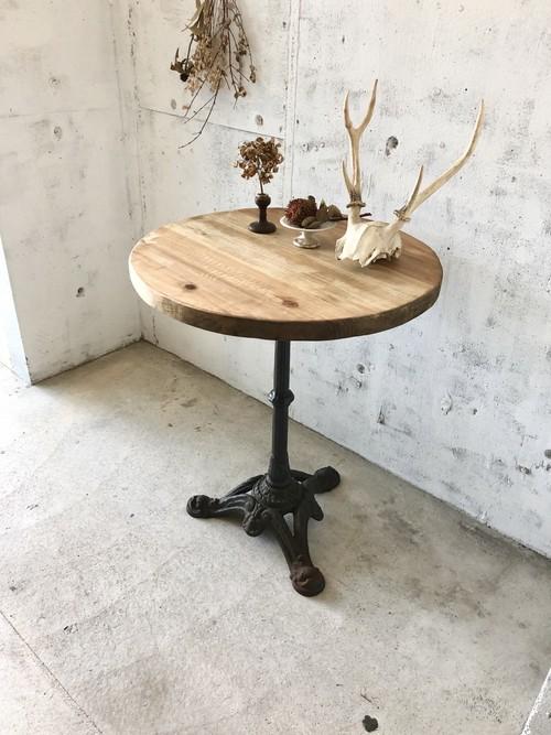 無骨な鉄脚のラウンドテーブル[古家具]