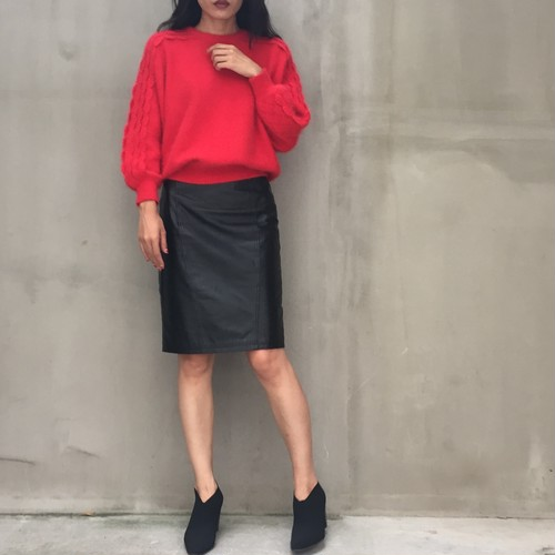 80's C.Dior red mohair knit