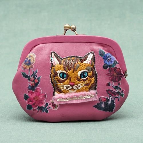 刺繍がま口ポーチNathalie Lete Pouch(pink)