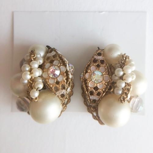 pearl filigree earring[e-1240] ヴィンテージイヤリング