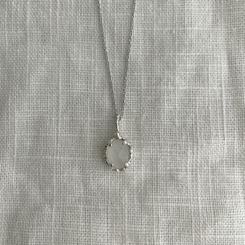 Yularice lace necklace gem SV925 Rainbow moonstone