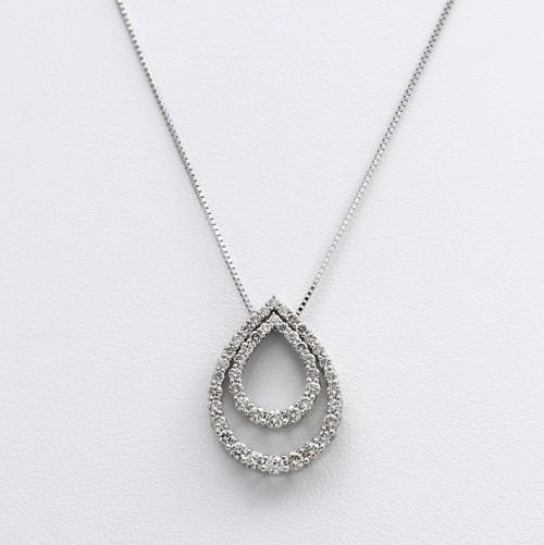 K18WG  1.00ctダイヤモンドネックレス