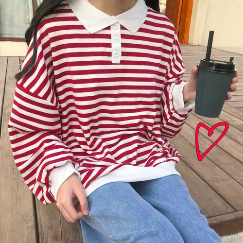 【送料無料】ゆるコーデ♡ ボーダー オーバーサイズ ボリューム袖 ポロシャツ 襟付き トップス