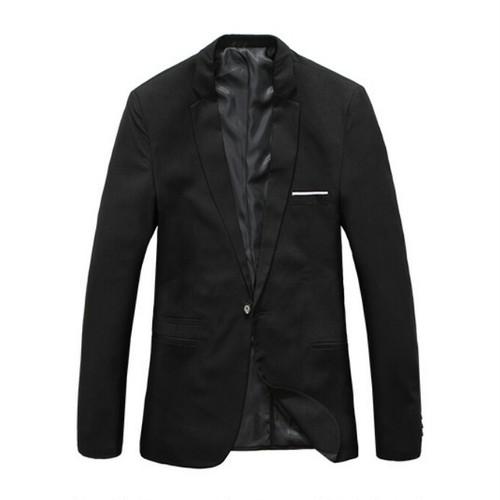 送料無料メンズ大きいサイズビジネスシングルテーラード黒ジャケット