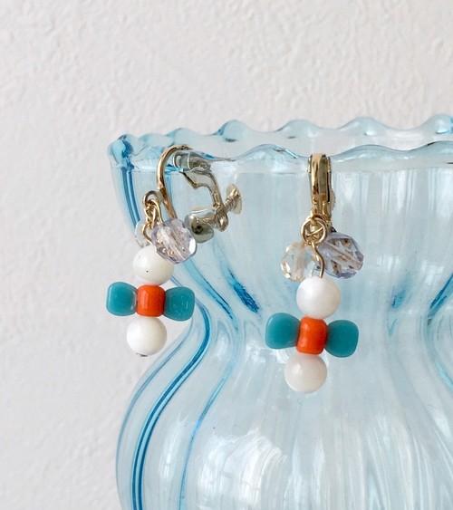 【癒し&優しさUP】マザーオブパール&リボン型ガラスビーズのイヤリングorピアス