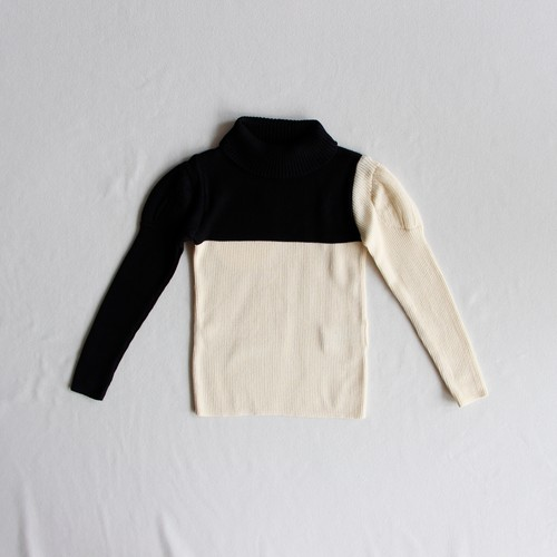 《frankygrow 2019AW》SWELL SHOULDER HIGH-NECKED KNIT / black × ivory / S・M・L