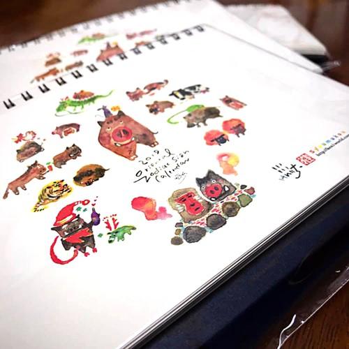 イノシシと仲間たち干支・卓上カレンダー