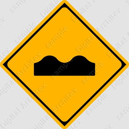 【イラスト】路面に凹凸ありの 交通標識